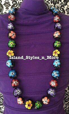 Hawaii Wedding Kukui Nut Lei Graduation Luau Hula Necklace Hibiscus MULTICOLOR