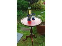Stunning Vintage Wine Table, Plant Stand, Side Table with Red Leather Top
