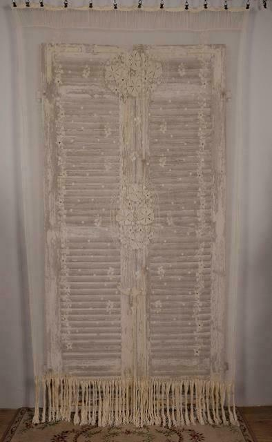 Gorgeous Antique French Fine Tulle Embroiderd Lace, Long Fringed Curtain C1900