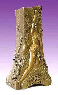JUGENDSTIL Künstler Bronze VASE MIT AKT sign. FLAMAND