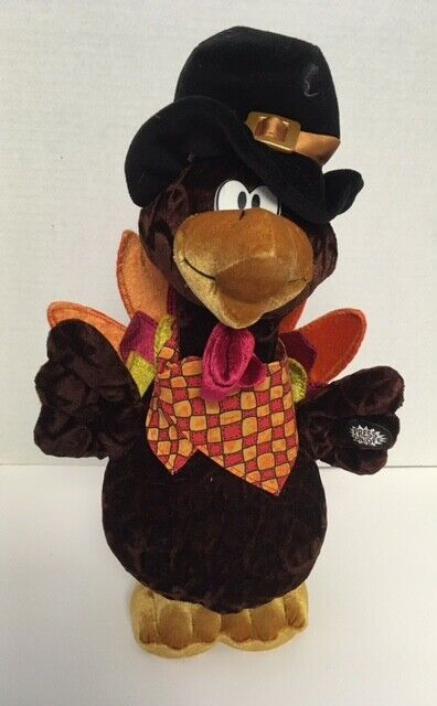 "Dandee TURKEY Singing Hopping 14"" Plush ""Turkey in the Straw"" Pilgrim Hat D6"