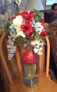 Red, white, and teal flower arrangements with Tall Glass Vases