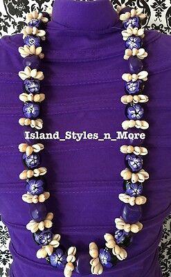 Hawaii Wedding Kukui Nut Lei w/ Cowrie Shell Graduation Luau Necklace- PURPLE