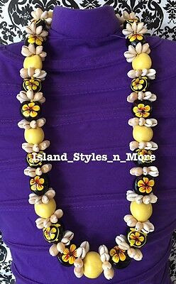 Hawaii Wedding Kukui Nut Lei w/ Cowrie Shell Graduation Luau Necklace- YELLOW