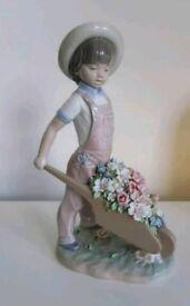 Lladro Figurine Wheelbarrow with Flowers 1283