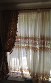 Brand new 5 beautiful piece curtains drapery cream&gold lace 100% hand made Egyptian tassels .