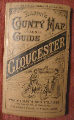 Bacon's County Map - Gloucester - for cyclists and tourists - early 1900s