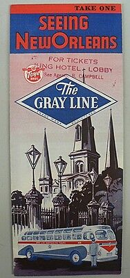 GRAY LINE BUS COMPANY NEW ORLEANS CITY MAP  1957