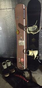 Snowboard: Two boards, bindings, boots and bag