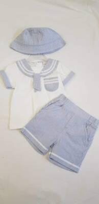 SALE Spanish Style Baby Boys 3 piece Sailor Suit SHORTS SHIRT & HAT  6 MONTHS