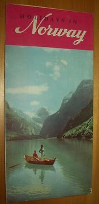 Old Advertising Travel Brochure HOLIDAYS IN NORWAY Map Pictures Fjords Oslo