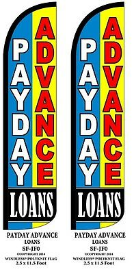 Payday Advance Loans Two 2  Windless Feather Flag Kits W Pole   Ground Spikes