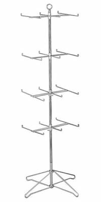 Ays Retail 24 Peg Floor Spinner W 4 Tiers Display Rack Chrome Finish New