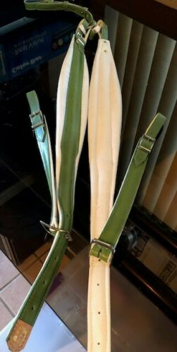 Accordion Strap Leather lime green & white