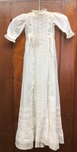 Antique Victorian Edwardian Long Cotton Lace Baby Christening Gown