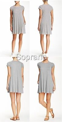 Soprano Tunic Dress Swing T Shirt Dress Mini Stripe Or Grey Solid New  44
