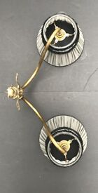 Pair of Antique Brass Wall Lights, Cherub detail, organza shade and fringe trim