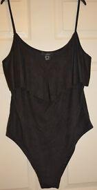 ATMOSPHERE beautiful BLACK saude Womens Ladies V Neck fashionable Bodysuit s 20