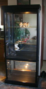5 shelf glass display cabinet with working lights.