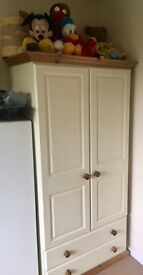 Cream and oak double wardrobe with drawers perfect condition