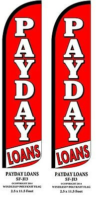 Payday Loans Two 2  Windless Swooper Feather Flag Kits W Pole   Ground Spikes