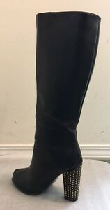 Black Faux Leather Knee High Boots Size 6.5