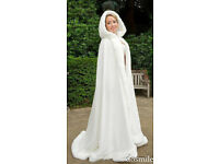 3 x NEW FULL LENGTH BRIDAL WHITE FAUX FUR CAPE CLOAK BRIDE BRIDESMAID WEDDING