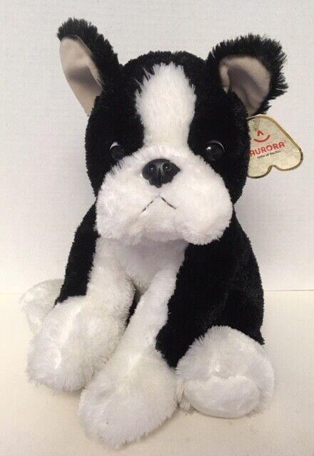 "Aurora BEANTOWN Boston Terrier 14"" Plush Dog MWT Stuffed Toy D9"