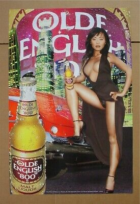 Olde English 800 Malt Liquor Sexy Asian girl panty shot beer poster NOS