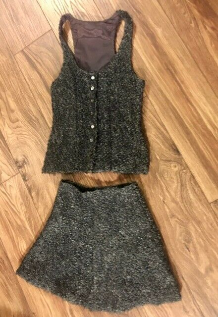 True Vintage 1970s 70s Boho Mod Twiggy Go Go Girl Vest and Mini Skirt Size XS