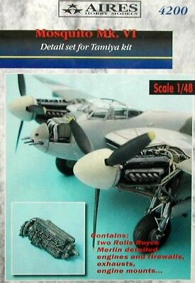 Aires 1/48 Mosquito FB Mk.VI Engine Detail Set for Tamiya kit 4200