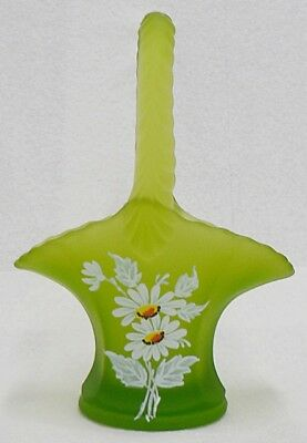WESTMORELAND GLASS GREEN SATIN PAINTED DAISY BASKET