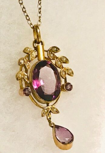 Antique Yellow Metal, Amethyst & Seed Pearl Pendant on Unmarked Gold Chain