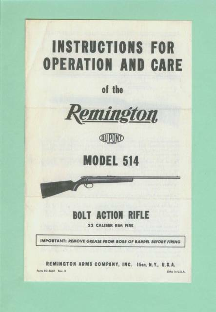 Remington Model 514 EARLY Owners Manual Reproduction