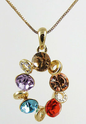 Beautiful Sparkling Multi Coloured Crystals Pendant Necklace