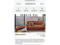 Harvey's Furniture - Westchester 3+2 seater saddle brown - 6months old - Paperwork provided like new