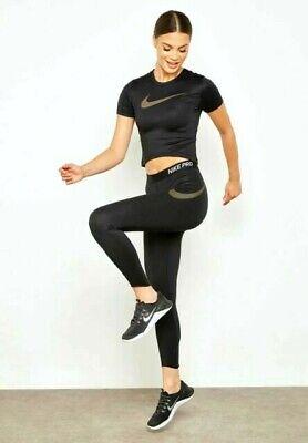Nike Running Short Sleeve Top (NIKE PRO Short Sleeve Running Top Women's Size M S Black)