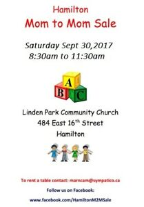 Hamilton Mom to Mom Sale, Sept. 30/17 8:30am-11:30am