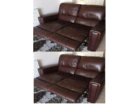 very good condition Brown leather 2x2 seater recliner sofas
