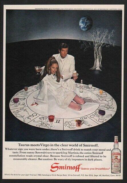 1969 SMIRNOFF VODKA - ASTROLOGICAL SIGNS - TAURUS MEETS VIRGO - VINTAGE AD