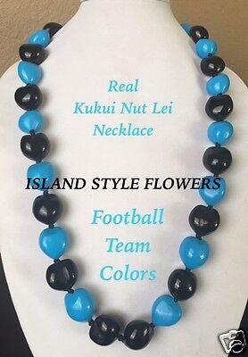 Hawaii Kukui Nut Lei Necklace Graduation Luau NFL Panthers Light Blue Black