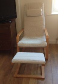 Suede type cream covered chair and stool