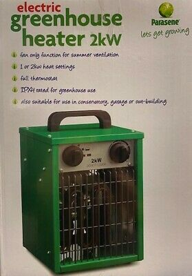 Electric Greenhouse Heater 2kw Thermostat Fan Only Function IPX4 Rated H/Duty