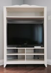 Meuble en coin blanc / Corner TV stand white