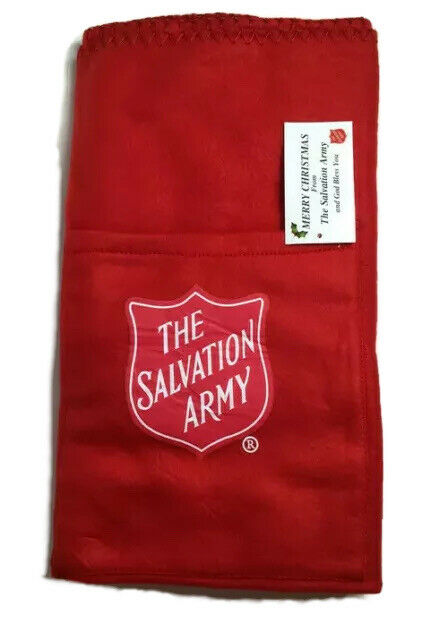 "Salvation Army Blanket With Logo Pocket Holder 38"" L  x 30"" H Crimson Red New"