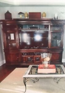 Solid wood tv entertainment unit