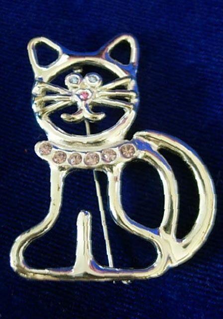 Vintage Silver Tone Cat Pin-Blue Crystal Eyes/Pink Nose