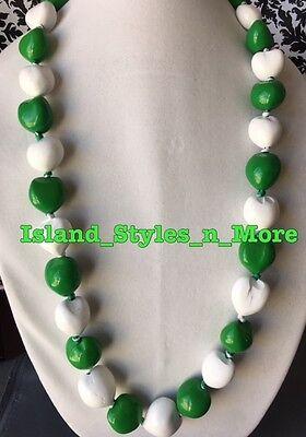 Hawaii Wedding Kukui Nut Lei Graduation Luau Hula Necklace SOLID GREEN WHITE NWT