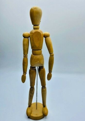 "Vintage Wood Artist Poseable Figure Mannequin Jointed 13"" Tall"