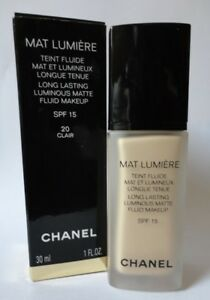 Chanel Mat Lumiere Foundation 20 Clair Discontinued Guaranteed Authentic! Rare!
